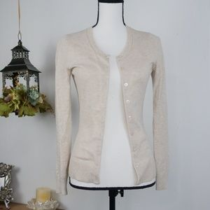 Gap Sweater Long Sleeve Light Beige Cardigan Sz XS